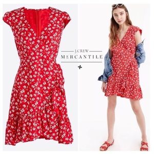 J. Crew Mercantile Faux Wrap Ruffle Dress Floral